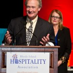 Governor Lincoln D. Chafee welcomes guests to the 2012 Rhode Island Hospitality Association's Stars of the Industry event.