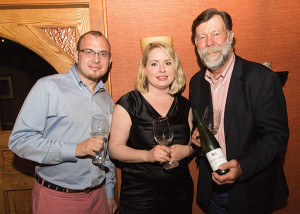 Jesse Sgro, Owner and Sales Director, Sage Cellars; Kate Turner, Sales Associate, Sage Cellars; Stu Smith, Smith-Madrone Vineyards and Winery. Photo by Chris Almeida.