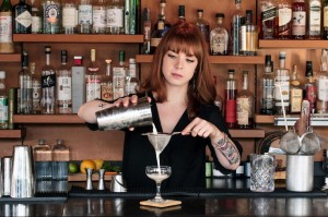 Gillian White, bar manager, Cook & Brown Public House in Providence works a double strain.
