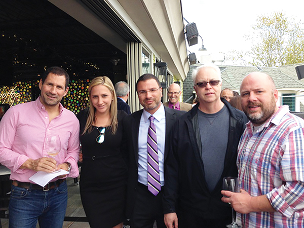 At Rooftop 120 in Glastonbury: Bill Driggs, Owner, Two Hopewell, South Glastonbury; Crissy Peterson, Select Brands Manager, Hartley and Parker; Frank LaTorra, Sales Manager, Hartley and Parker; Tom Grant, Executive Chef, Wethersfield Country Club; and Bruce Swanson, Owner, Suburban Liquors, Rocky Hill.