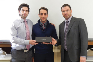Hartley and Parker Limited honors Matt Parent with a watch for 10 years of service. David Rosenberg, Vice President; Matt Parent, Sales Representative; and Frank LaTorra, Sales Manager.