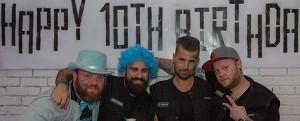 Portland Cocktail Week Varsity Team member, USBG CT Chapter Vice President and guest columnist Dimitrios Zahariadis (in blue wig). With him are fellow PDXCW'ers left to right: Travis Tober, Rob Crabtree and Junior Ryan.