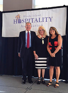 Hudson Riehle, Senior Vice President of Research and Knowledge Group for the National Restaurant Association; Dale Venturini, President and CEO of RI Hospitality Association; and Rachel Roginsky, President of Pinnacle Advisory Group.