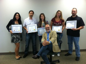 """Pictured left to right: Rosa Munoz, Joe Palisi, Angela Cianci, seated Greg Altieri, instructor, Megan """"Aggie"""" Johnson, and Rich Regan. Missing from photo: Pete Hill."""