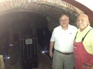 Farrell is shown on the left with Guido Viotti, owner of Viotti Vini (Wines) in Castel Rocchero, in the Piedmont section of Italy.