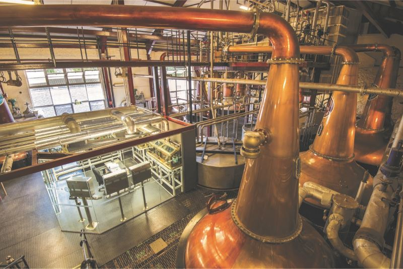 Bushmills, in County Antrim, is the oldest distillery on the island of Ireland, but the stills are thoroughly modernized