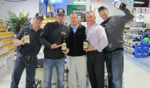Bob Haxton, Haxton's Liquors; Jesse James Dupree; Tim Haxton, Haxton's Liquors; Keith Miranda, president of Johnson Brothers of Rhode Island; Bill Florek, LeVecke Corporation, who represents the Jesse James brand.
