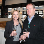 Christine Langford, Sales Representative, M.S. Walker with Tim Haxton, Owner, Haxton's Liquor Store.
