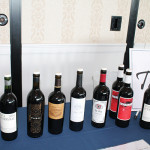 Wines on display to taste.