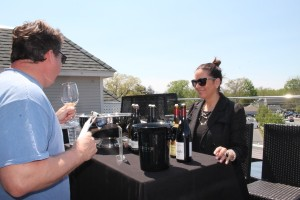 Lisa Strausser from Kermit Lynch Wine Merchants with Eric Nass, Manager, Back Porch Restaurant in Old Saybrook.