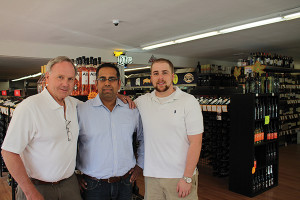 Vino et al Wine & Liquor Superstore: Ty Nicholson, Wine and Spirit Director; Hemant Sujan, Owner; Ryan Hackett, Store Manager.