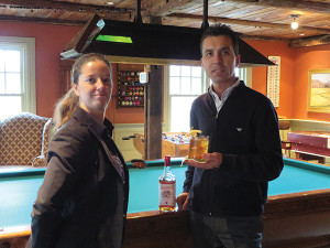 Bartender Jessica Olsen with Food and Beverage Manager Stefano Middei, and the Apple Old Fashioned.