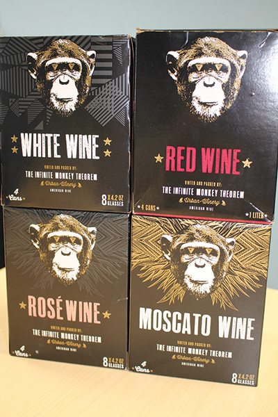 The Infinite Monkey Theorem canned wines portfolio features a white, red, rosé and moscato wine. Each comes in a 4-pack of cans.