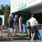 Golfers lining up to register for the event.