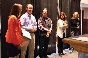 . Tasha Sprague, consultant to Carolyn's Sakonnet Vineyard; Steve Krohn, Director of Wine Education, Carolyn's Sakonnet Vineyard; Gerhard Ziemer, Artisan Barrels and Tanks, Inc.; Elaine Bernier, Sakonnet Winemaker; Lorraine Frank, Vineyard Manager.