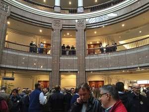 The lobby of the Legislative Office Building in Hartford filled early for the February 23 public hearing on S.B. 14.