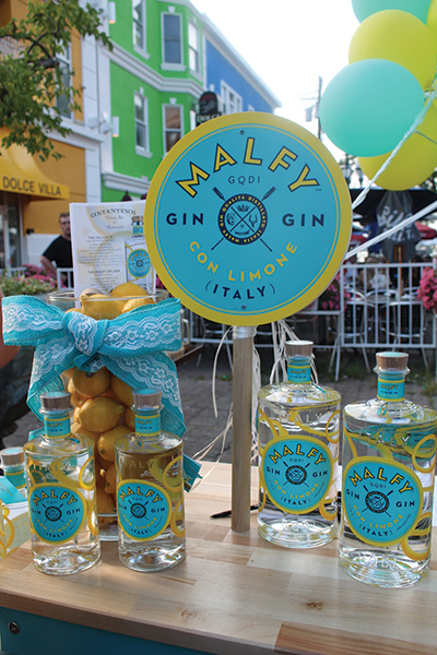 Malfy Gin on display at the venue's outdoor patio.