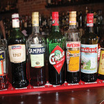The lineup of Italian liqueurs featured during the seminar.