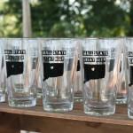 Hartford Prints beer glasses on display.