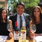 Megan Haas, Vine Ventures; Alejandro Flores, Owner, RedPuro Wines; Jade Morvan, Vine Ventures, beside RedPuro Fair Trade Chardonnay and RedPuro Organic Malbec. RedPuro Wines are importers of organic, sustainable and fair trade wines.