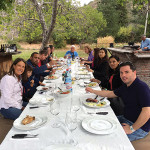The group of trade professionals gathering for lunch at Viña Calyptra in Chile.
