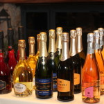Sparkling wines on display.
