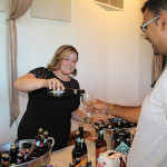 Cara Passarelli, Account Development Manager, Brescome Barton pouring tastes of Duvel Moortgat beers, including Boulevard Brewing Company Tank 7 and The Calling IPA, along with Ommegang Witte, Grains of Truth Harvest Ale, Nirvana IPA, Abbey Ale, Gnomegang Blonde Ale, Three Philosophers and Duvel Golden Ale.