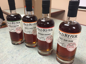 Mad River Revolution Rye, Mad River Maple Cask Rum, Mad River Bourbon Whiskey and Mad River First Run Rum.