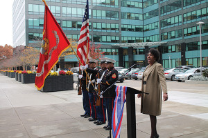 "Kimberly Wilson, actress and singer, The Wilson Production, sang the ""Star-Spangled Banner"" during the opening ceremony."