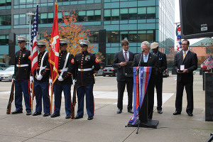 U.S. Marine Corps Honor Guard beside Harry Rilling, Mayor, City of Norwalk at the podium; Jakob Ripshtein, CFO, Diageo North America and President of Diageo Canada; Marc S. Strachan, Vice President of Corporate Relations and Constituent Affairs, Diageo; Mark Schulte, Senior Vice President of Customer Marketing and Education, Diageo.