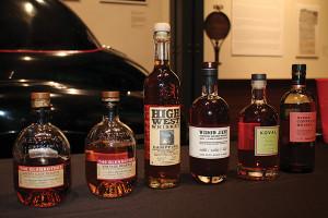 Bourbon whiskies on display.