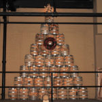 A spirited Christmas tree was on display.