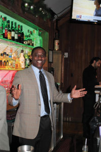 Peter Lloyd Clayton, Owner, Bartenders Academy and competition organizer, welcoming guests.