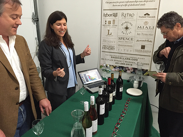 Mika Bulmash from Wine for the World, next to Brad Norton, Sales Director, Wine for the World, explaining their South African portfolio to Jerry Ehrlich from Eno Fine Wines and Spirits in Providence.