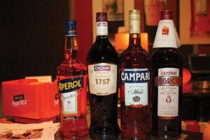 Aperol, Cinzano 1757, Campari, Campari Negroni on display.