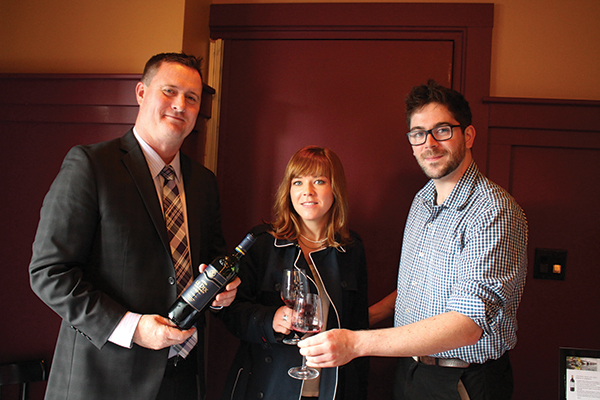 Timothy Gardella, New England Area Manager, Esprit du Vin; Amy Monks of Chow Fun Food Group and Jacob Dushuttle, Sous Chef, Red Stripe.