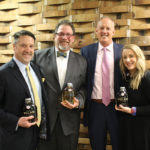Peter Kawulicz, Business Manager, CDI; Richard Plutzer, Regional Manager Northeast Division, Mahalo Spirits Company; John Parke, President and CEO, CDI; Nadine Gengras, Portfolio and Account Development Manager, CDI with Papa Pilar Dark and Blonde Rum.