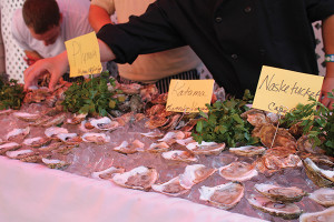 Oysters out for guests to sample.