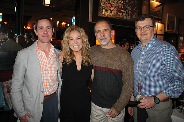 Brian Kociszewski, Regional Manager, Worldwide Wines; Kathie Lee Gifford; Tom Taylor, Sales Representative, Worldwide Wines; and Brian Mitchell, Beverage Director, Max Restaurant Group.