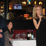 Robert Cooke, Partner, Max's Oyster Bar and Gifft Wines Publicist Christine Gardner look on as Kathie Lee Gifford gets the luncheon underway.