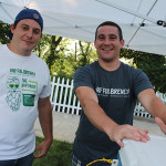 Vinnie Pelliccione and Brian Gmelin, Sales and Tasting Room staff at Half Full Brewing in Stamford.