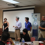 Sarah Alokones, Divisional Sales Manager North, Brescome Barton presenting Waypoint Co-Founders John Taylor, Doug Bowie and David Rossi to the Brescome staff.