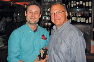 Winner Josh Pekar and Tom Kachmarck, Market Manager CT/RI, Brown-Forman.