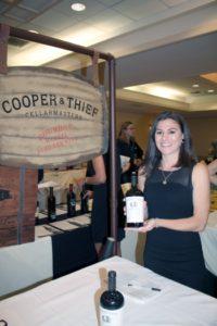 Jackie Skelly, Vine Ventures, representing Cooper & Thief Bourbon Barrel Aged Red Wine.