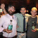 Donal O'Gallachoir, Brand Manager, Glendalough Distillery with Noah King-Smith, Key Account and Spirits Manager of Slocum & Sons visiting with Daniel Rek, Bar Manager at New Haven's Elm City Social to promote Glendalough whiskey.