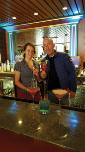 Tara Neary, winner of the cocktail challenge, with owner of 44° North Vodka, Ron Zier.