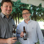 Brescome Barton Sales Representatives Matt Smulski and Leigh Harper pouring samples of Steadfast Beer.