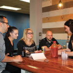 Allison Rodia of Waypoint Spirits conducting a tasting for Miguel Proano, Carlina Fontaine, Jeannie Venditto and Steve Balicki, all from Buffalo Wild Wings.