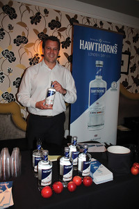 Nick Masters of 180 East Ltd., with Hawthorne's London Dry Gin.