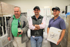 All from Murphy Distributors: Tommy Rose, Warehouse Manager; Matthew Murphy, President; and Branden Hylwa, Key Account and Sales Manager, with new shipments of wine including Saddlebred and Gran Appaso, now available in the Murphy portfolio.